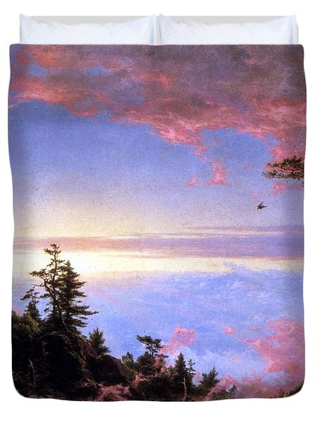 Above The Clouds At Sunrise By Frederick Edwin Church Duvet Cover