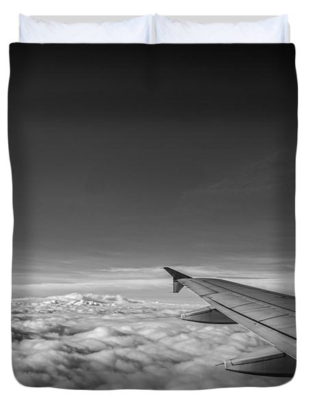 Above The Clouds Bw Duvet Cover