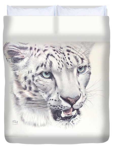 Above The Clouds - Snow Leopard Duvet Cover