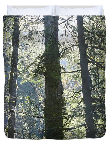 Duvet Cover featuring the photograph Above The Firs by Darleen Stry