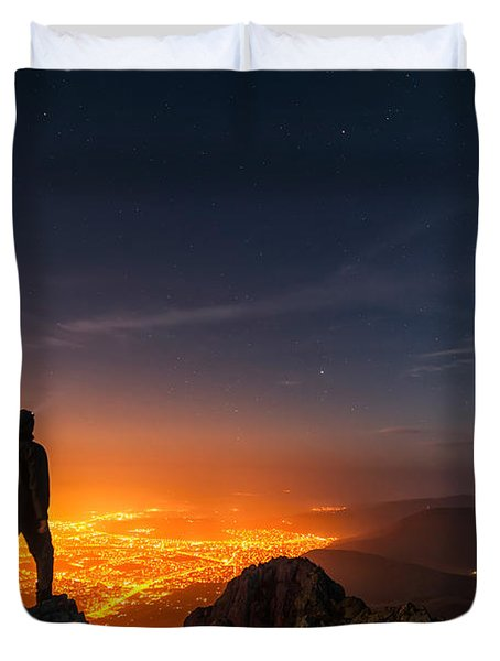 Above The Night Duvet Cover by Evgeni Dinev