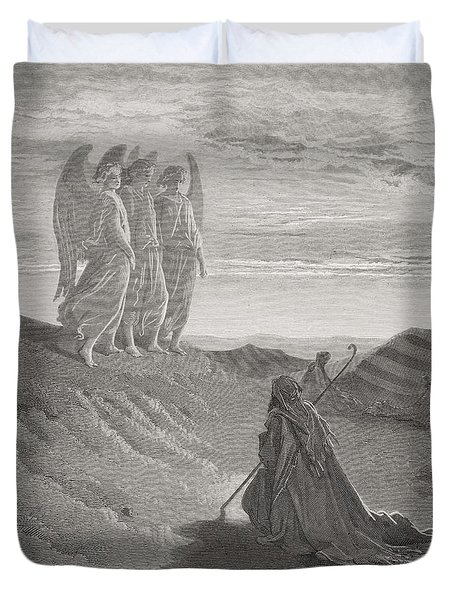 Abraham And The Three Angels Duvet Cover by Gustave Dore