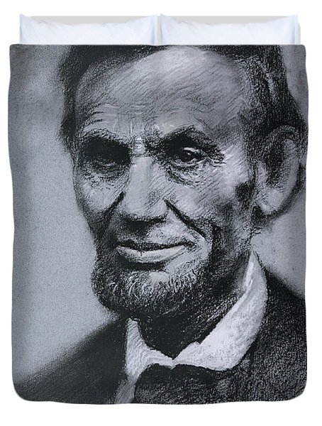 Duvet Cover featuring the drawing Abraham Lincoln by Viola El