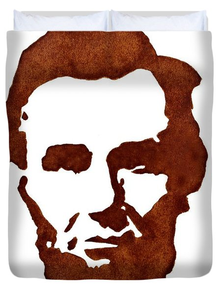 Abraham Lincoln Original Coffee Painting Duvet Cover