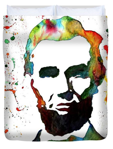 Duvet Cover featuring the painting Abraham Lincoln Original Watercolor Painting by Georgeta Blanaru