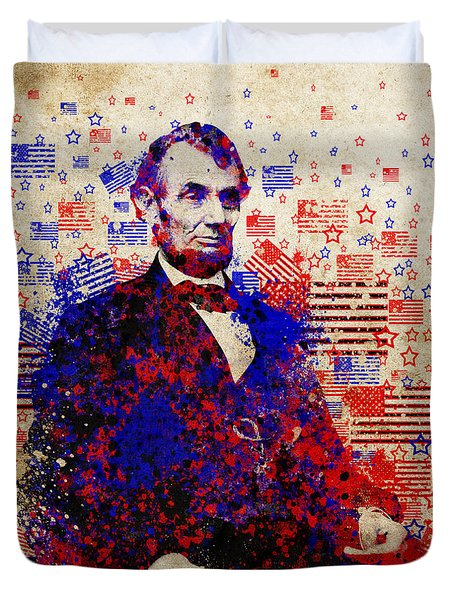 Abraham Lincoln With Flags Duvet Cover