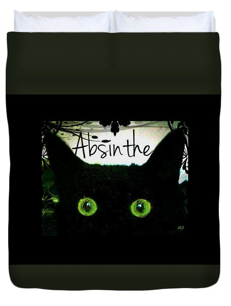 Absinthe Black Cat Duvet Cover by Absinthe Art By Michelle LeAnn Scott