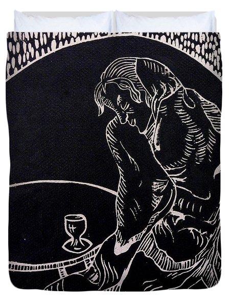 Absinthe Drinker After Picasso Duvet Cover by Caroline Street