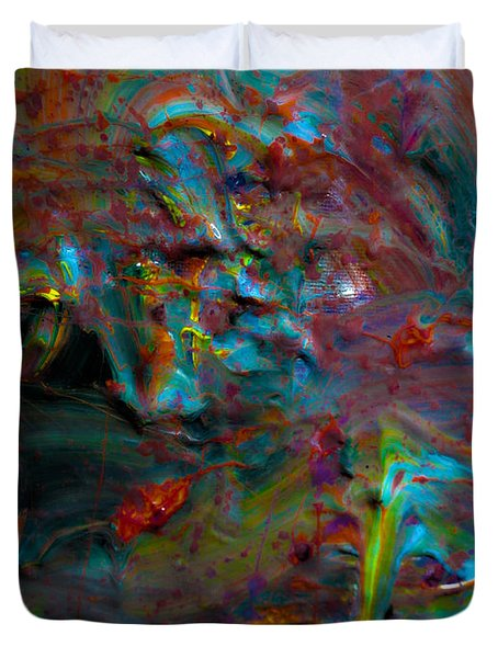Duvet Cover featuring the painting Abstract 1 by Brian Reaves