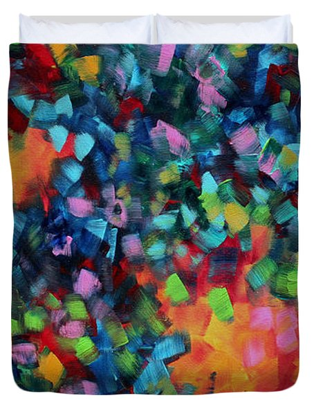Abstract Art Bold Colorful Modern Art Original Painting Color Blast By Madart Duvet Cover by Megan Duncanson