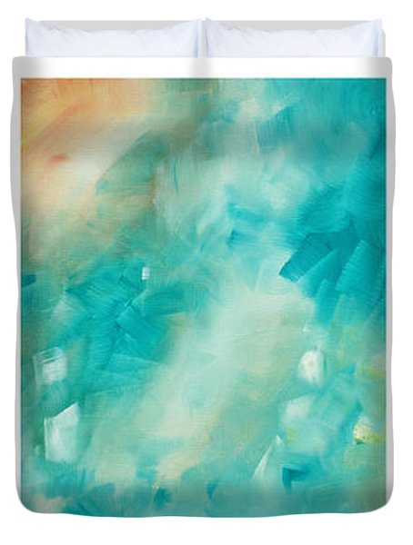Abstract Art Colorful Bright Pastels Original Painting Spring Is Here By Madart Duvet Cover by Megan Duncanson