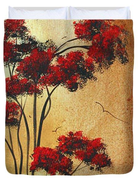 Abstract Art Colorful Original Landscape Painting Birds Aloft By Madart Duvet Cover by Megan Duncanson