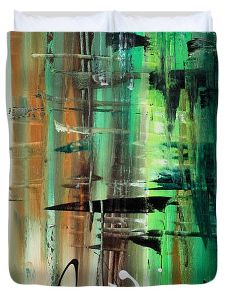 Abstract Art Colorful Original Painting Green Valley By Madart Duvet Cover by Megan Duncanson