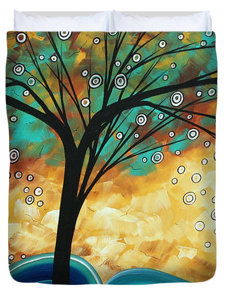 Abstract Art Contemporary Painting Summer Blooms By Madart Duvet Cover by Megan Duncanson