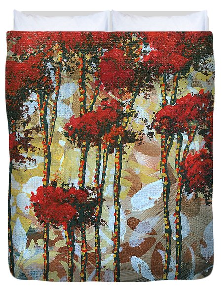 Abstract Art Decorative Landscape Original Painting Whispering Trees I By Madart Studios Duvet Cover by Megan Duncanson