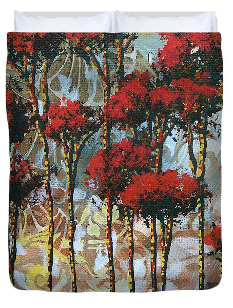Abstract Art Decorative Landscape Original Painting Whispering Trees II By Madart Studios Duvet Cover by Megan Duncanson