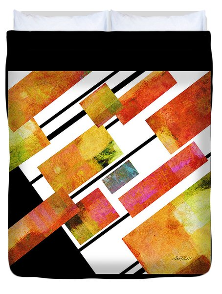 abstract art Homage to Mondrian Square Duvet Cover by Ann Powell