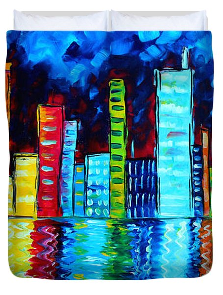 Abstract Art Landscape City Cityscape Textured Painting City Nights II By Madart Duvet Cover