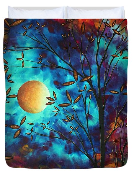 Abstract Art Landscape Tree Blossoms Sea Moon Painting Visionary Delight By Madart Duvet Cover by Megan Duncanson