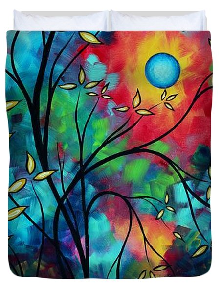Abstract Art Landscape Tree Blossoms Sea Painting Under The Light Of The Moon II By Madart Duvet Cover