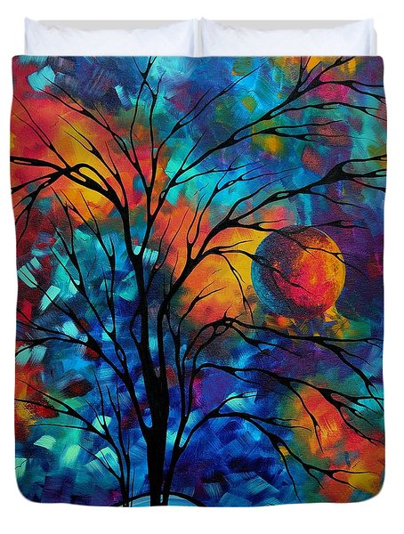 Abstract Art Landscape Tree Bold Colorful Painting A Secret Place By Madart Duvet Cover by Megan Duncanson
