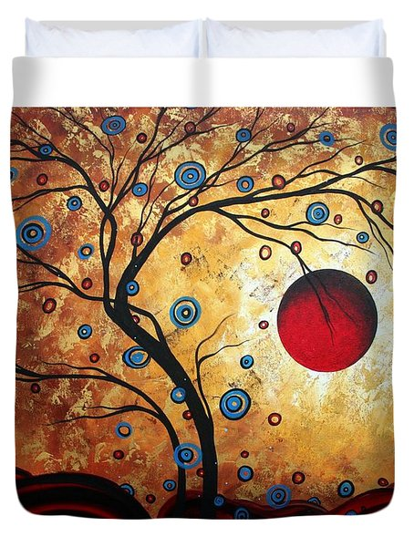 Abstract Art Landscape Tree Metallic Gold Texture Painting Free As The Wind By Madart Duvet Cover by Megan Duncanson