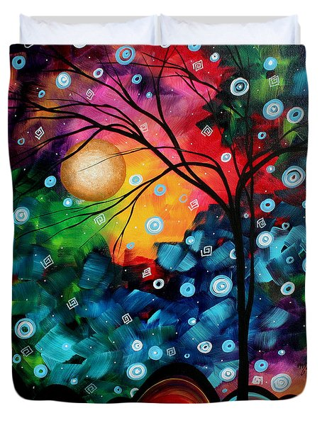 Abstract Art Landscape Tree Painting Brilliance In The Sky Madart Duvet Cover by Megan Duncanson