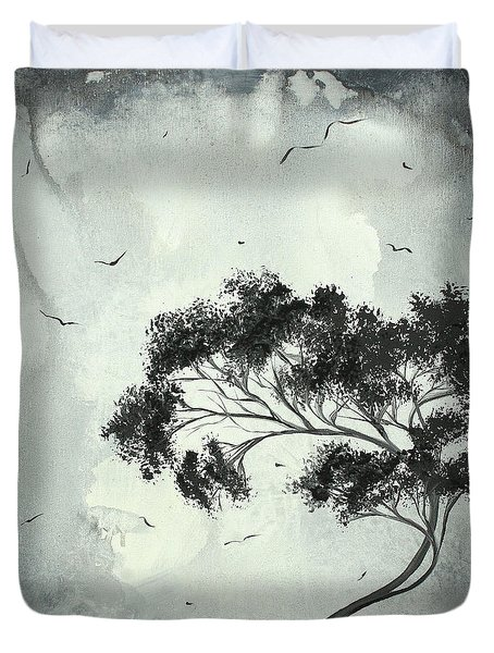 Abstract Art Original Black And White Surreal Landscape Painting Lost Moon By Madart Duvet Cover by Megan Duncanson