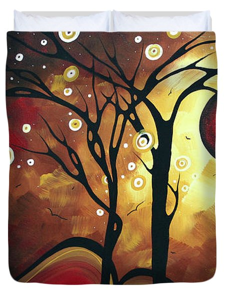 Abstract Art Original Landscape Painting Catch The Rising Sun By Madart Duvet Cover by Megan Duncanson