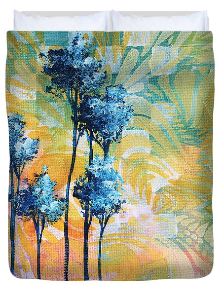 Abstract Art Original Landscape Painting Contemporary Design Blue Trees I By Madart Duvet Cover by Megan Duncanson