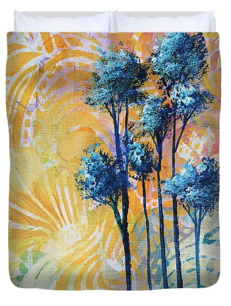 Abstract Art Original Landscape Painting Contemporary Design Blue Trees II By Madart Duvet Cover by Megan Duncanson