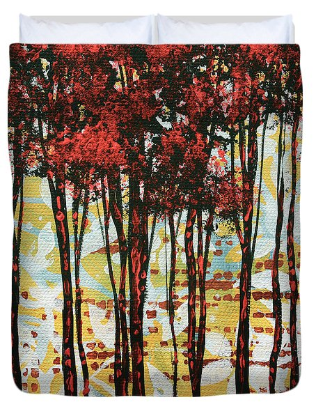 Abstract Art Original Landscape Painting Contemporary Design Forest Of Dreams I By Madart Duvet Cover by Megan Duncanson
