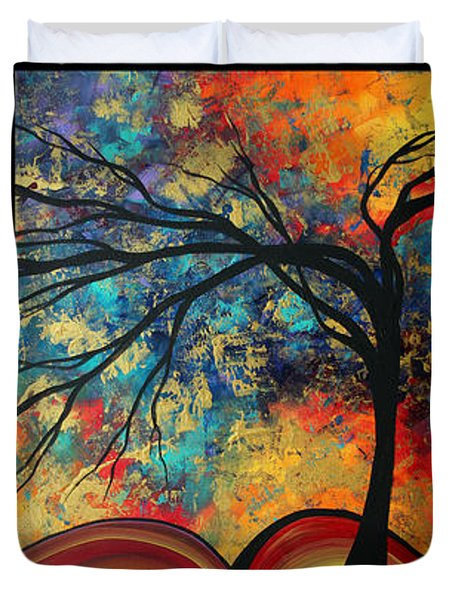 Abstract Art Original Landscape Painting Go Forth By Madart Duvet Cover by Megan Duncanson