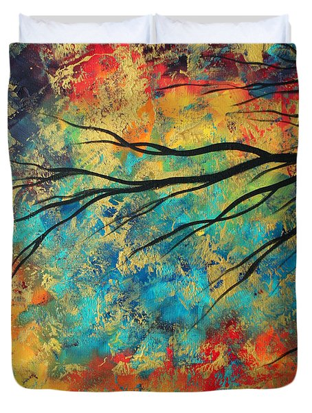 Abstract Art Original Landscape Painting Go Forth I By Madart Studios Duvet Cover by Megan Duncanson