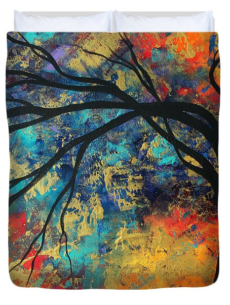 Abstract Art Original Landscape Painting Go Forth II By Madart Studios Duvet Cover by Megan Duncanson