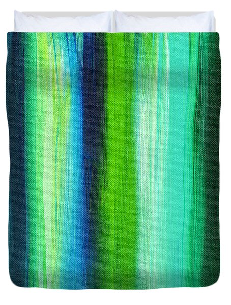 Abstract Art Original Textured Soothing Painting Sea Of Whimsy Stripes I By Madart Duvet Cover