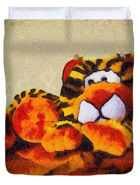 Abstract Bengal Tiger Duvet Cover by Barbara Snyder