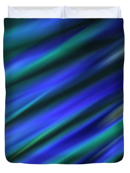 Abstract Blue Green Diagonal Blur Duvet Cover by Marvin Spates
