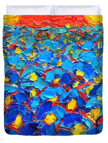 Abstract Blue Poppies In Sunrise -original Oil Painting Duvet Cover by Ana Maria Edulescu
