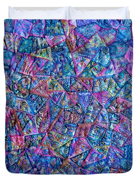 Abstract Blue Rose Quilt Duvet Cover
