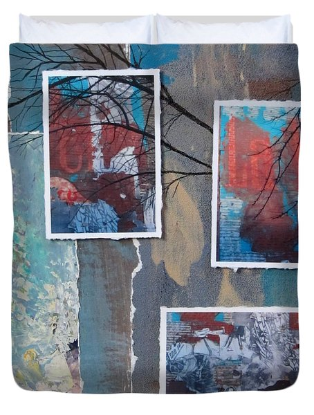 Abstract Branch Collage Trio Duvet Cover by Anita Burgermeister