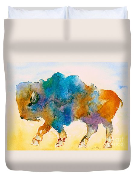 Abstract Buffalo In Blue Rust And Yellow Duvet Cover by Nan Wright