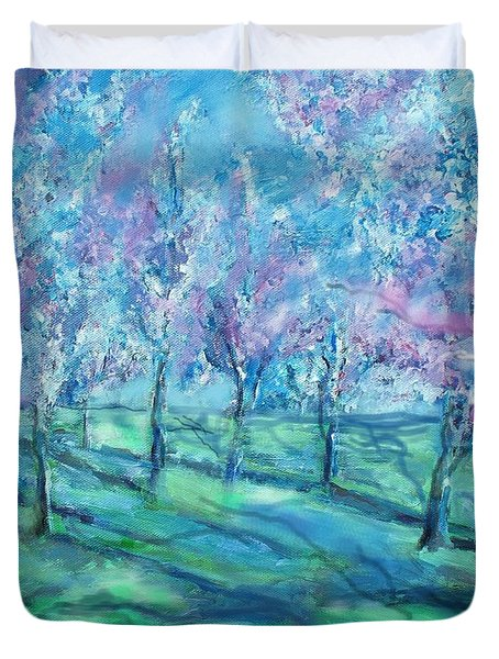 Abstract Cherry Trees Duvet Cover by Eric  Schiabor