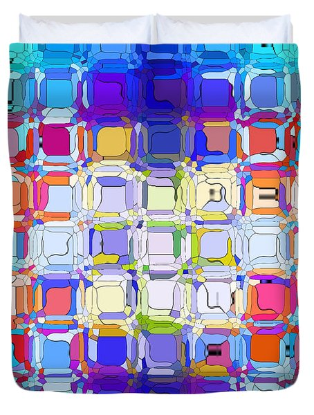 Duvet Cover featuring the digital art Abstract Color Blocks by Anita Lewis
