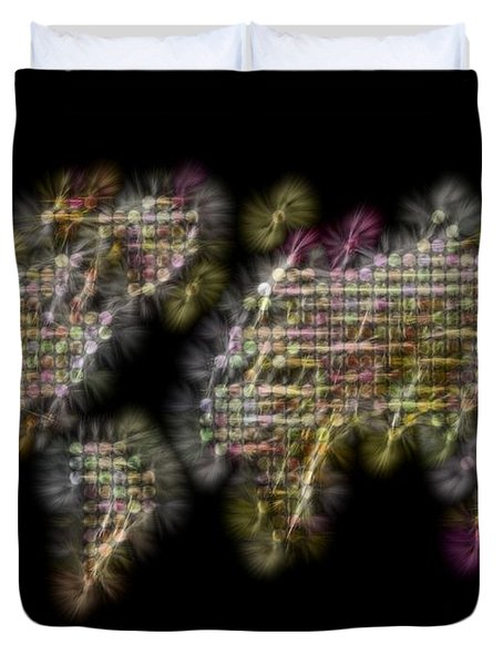 Abstract Colorful World Map Fractalius Duvet Cover by Georgeta Blanaru