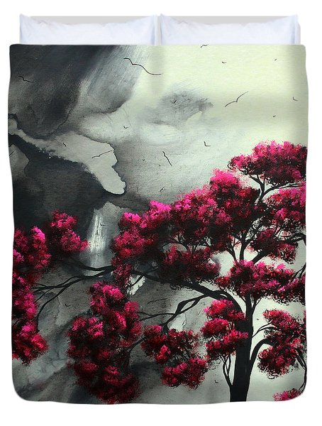 Abstract Contemporary Art Landscape Painting Modern Artwork Pink Passion By Madart Duvet Cover by Megan Duncanson