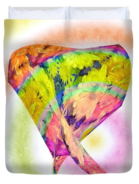 Abstract Crazy Daisies - Flora - Heart - Rainbow Circles - Painterly Duvet Cover by Andee Design