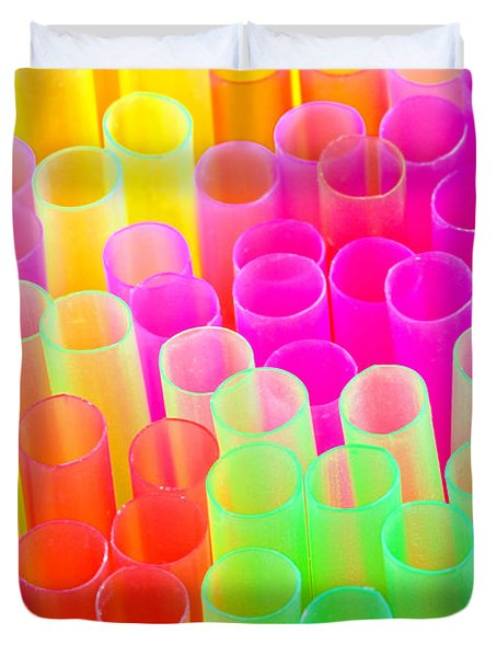 Duvet Cover featuring the photograph Abstract Drinking Straws #2 by Meirion Matthias