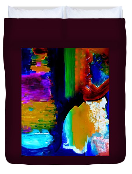 Duvet Cover featuring the painting Abstract Du Colour by Lisa Kaiser