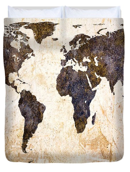 Abstract Earth Map Duvet Cover by Bob Orsillo